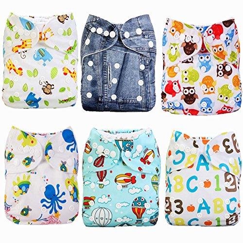 Mumsbest Reusable Pocket Cloth Diapers 6pcs + 6