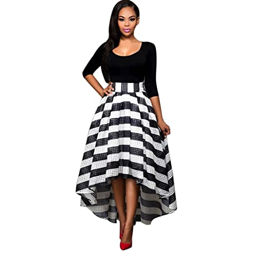 Hot Sale❤❤️UPLOTER Womens Stripe African Floral Print A Line Long Skirt 2 Piece Maxi Dress Outfits Crop Top and Skirt Set at Amazon Womens Clothing ...