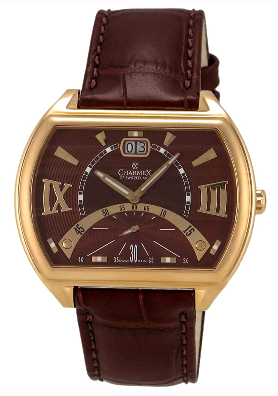 Charmex of Switzerland Monte Carlo Rose Gold Plated Steel Mens Watch Metallic Brown Dial 2332