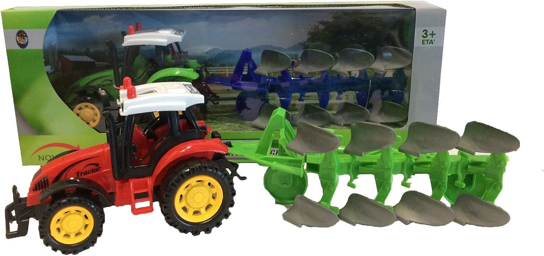 RCG Tractor con Remolque de Juguete Tractor agrícola con Tanque, arado, henificadora, Tractor de fricción, Color Aleatorio (arado)