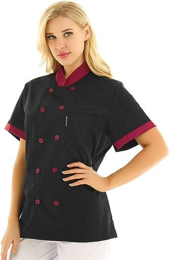 IEFIEL Camisa de Cocinero Camiseta Manga Corta Unisexo para Hombre Mujer Chef Escudo Uniforme de Trabajo Cocina Hotel Restaurante: Amazon.es: Ropa y accesorios
