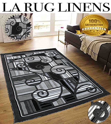 Colorful Gray Grey Silver Modern Contemporary Abstract Designer Decorative Hand Tufted 8x10 Bedroom Living Room Indoor Outdoor Floor Area Rug Throw .5 Inch Thin Pile Height ( Royal 2146A Black/Black ) (Rugs 10 Capel)