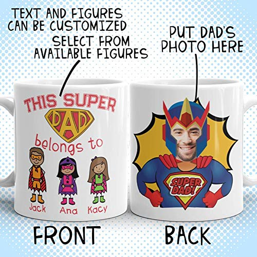 Personalized Custom Father's Day Mug Superhero dad Comic Stick Figure Family ()