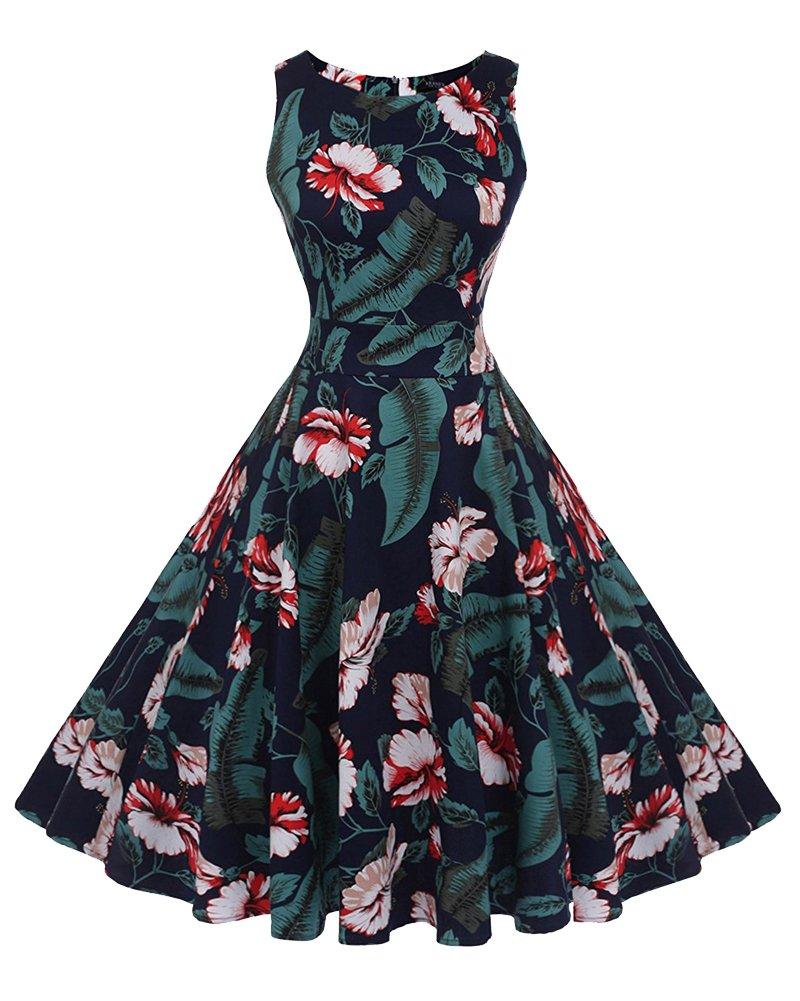 Hepburn Swing Pinup Rockabilly A-Line Sin Mangas Estilo Vintage Impresión De Flores Vestido De