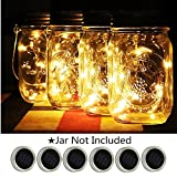 6-Pack Solar-powered Mason Jar Lights (Jar & Handle Not Included),10 Bulbs Warm White Jar Hanging Light,Solar Fairy Firefly Lights Lids Insert Fit for Regular Mouth Jars for Decor Solar Table Light