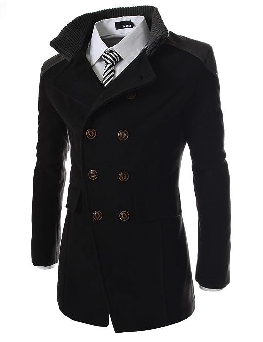 ce979c677d30 (KWC) Slim zweireihiger Mantel aus Wolle SCHWARZ X-Large(EU 52)  Amazon.de   Bekleidung