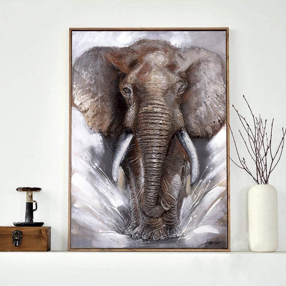 Números conpinturas delienzoSELFILMENTE Elefante gris Arte de la pared Lienzo Imágenes Carteles Decoración para el hogar Elefantes animales modernos Cuadros impresos Decoración-70x95CM_N