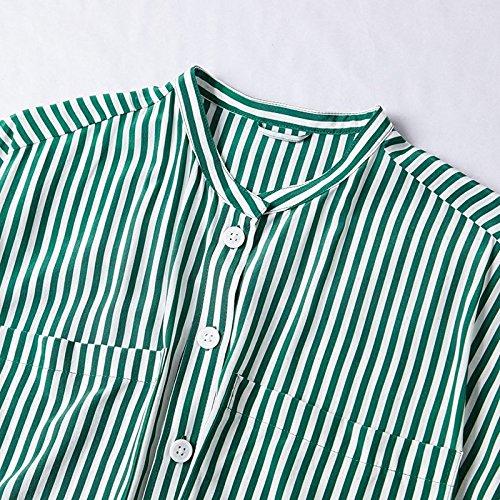 Rayures Nouvelle Longue L Courte Green Longues Manches tape Jupe Une 2018 t Seule Robe MiGMV Robe Robes en Robe xPIxCfq