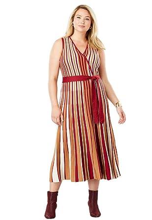 3665261bdb2 Jessica London Women s Plus Size Faux Wrap Metallic Sweaterdress at Amazon  Women s Clothing store