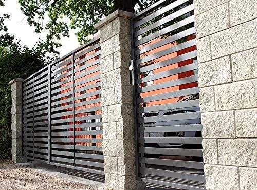 Hoftor Berlín - Puerta de entrada doble con puerta corredera y 3 postes de piedra (94 cm x 38 cm), color blanco, antracita, rojo y negro: Amazon.es: Bricolaje y herramientas