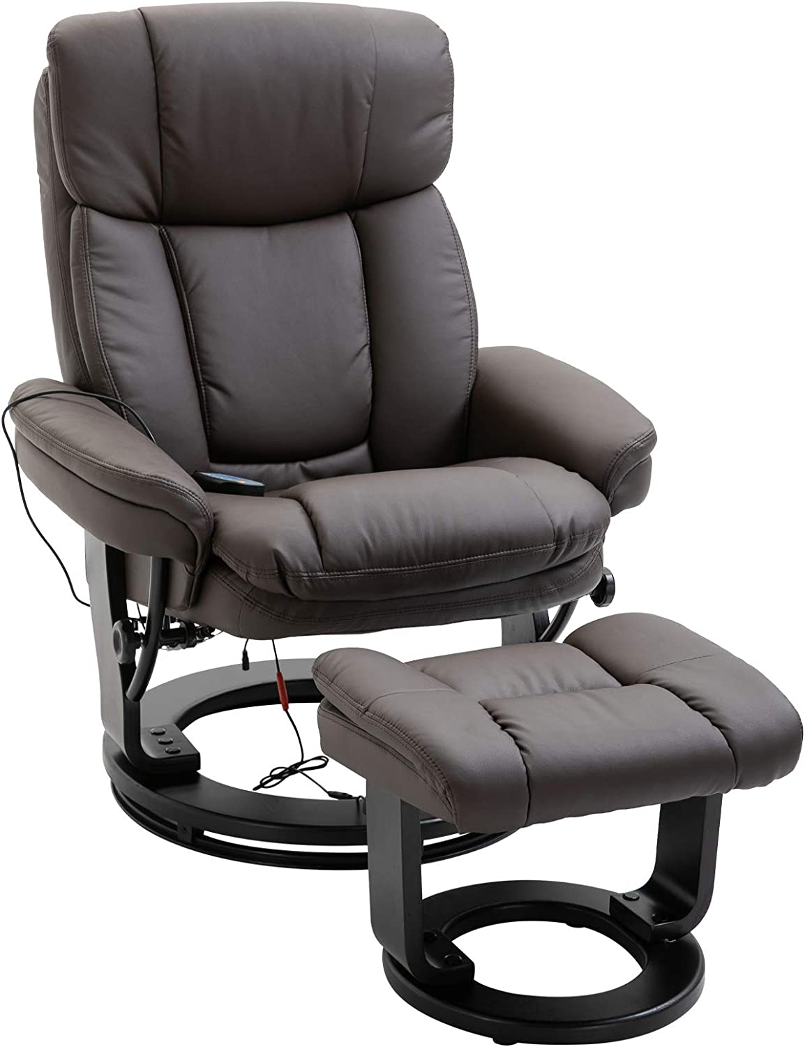 HOMCOM Massage Sofa Recliner Chair with Footrest, 10 Vibration Points, Faux Leather, Brown