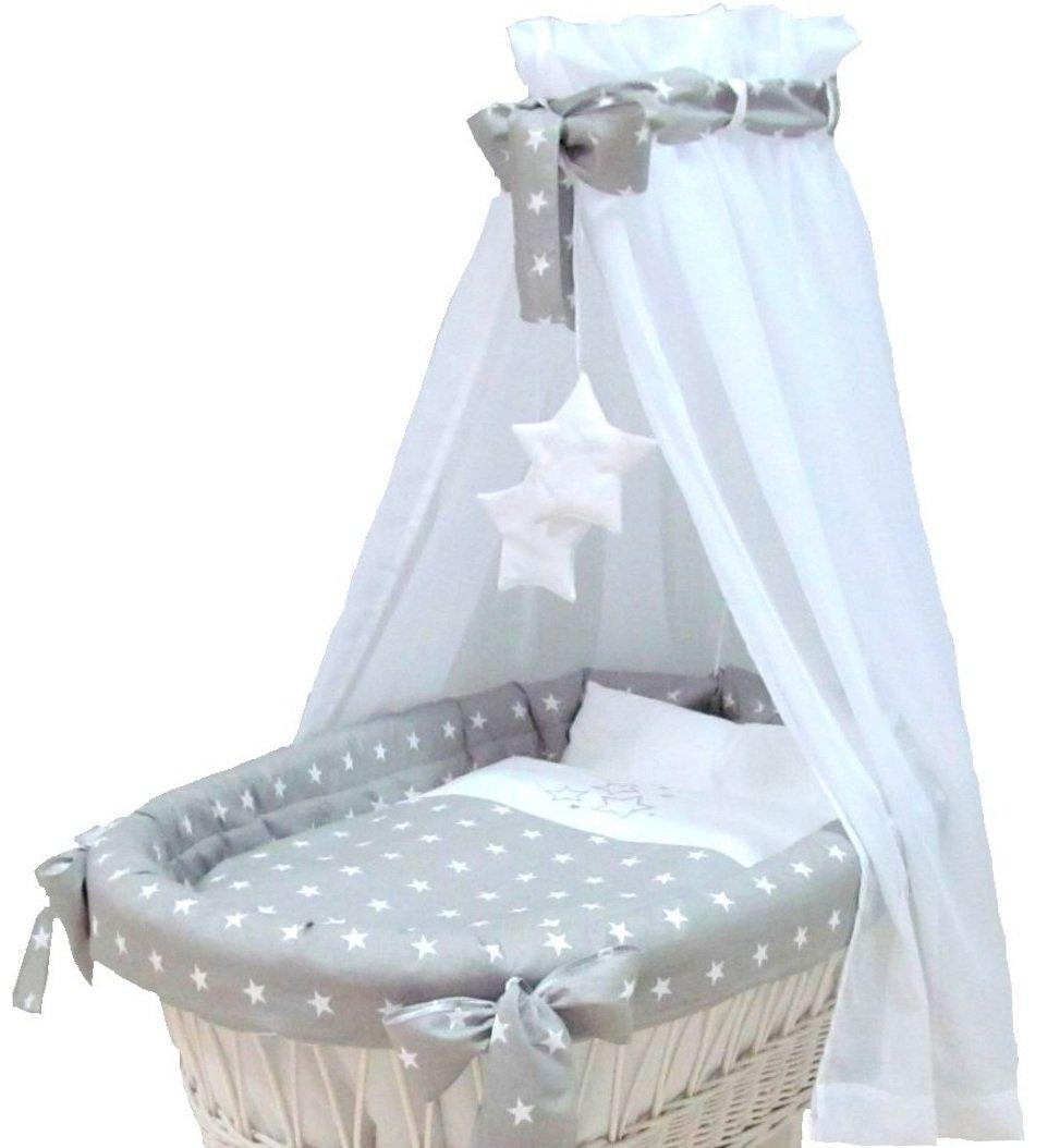 Babymajawelt® Couverture additif pour bassinette STARS - 7 parties, literie, tour de lit, dais, couette, drap housse (sans berceau) (gris)