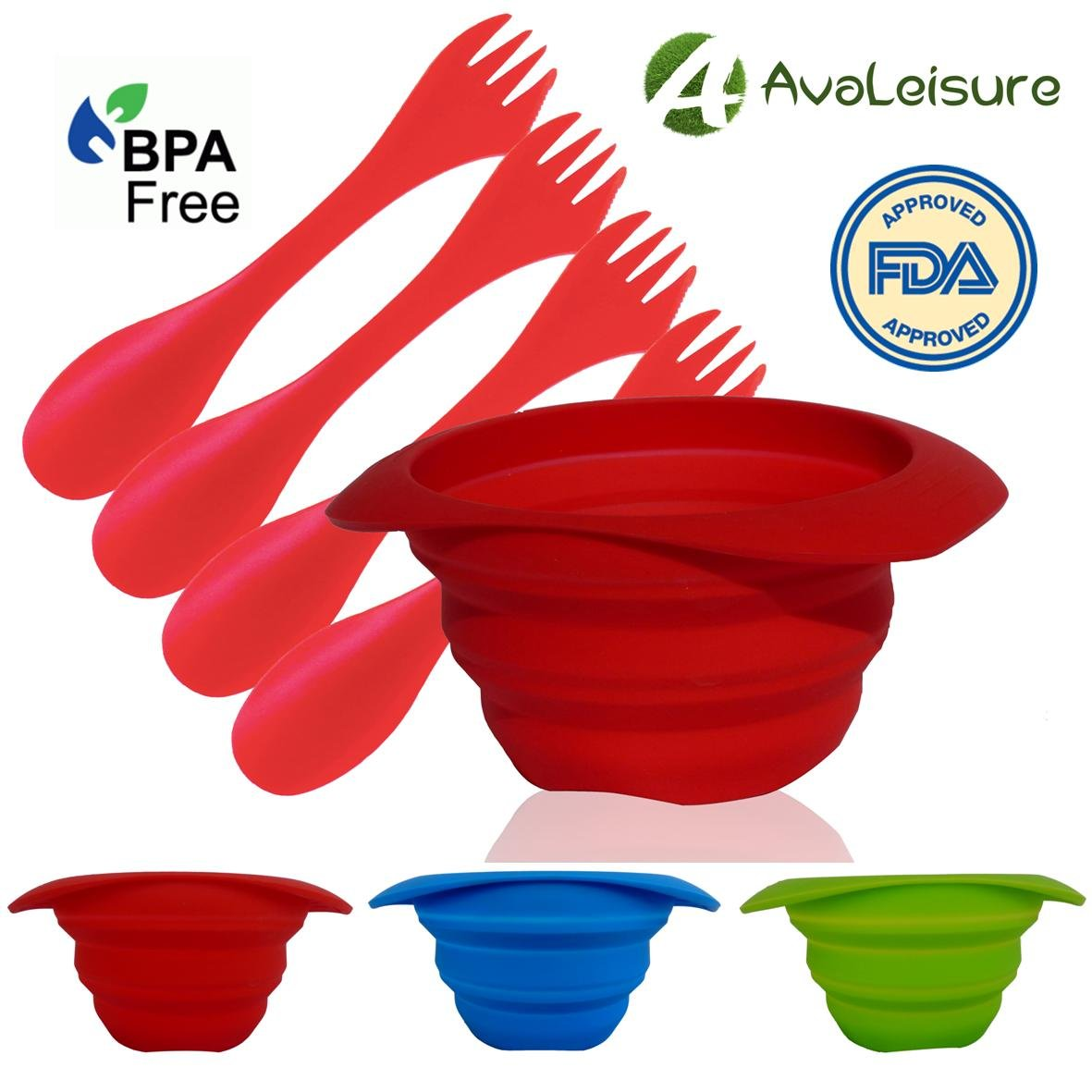 AVALEISURE Collapsibleボウル – 25oz/750ml – Set of 2 Bowlsまたは1ボウルwith 4 Sporks – 理想的なキャンプ、RV、バックパッキング、混合Camp食& – As a Dog Food &水ボウル – BPAフリー、省スペース B076HGRS4C レッド レッド