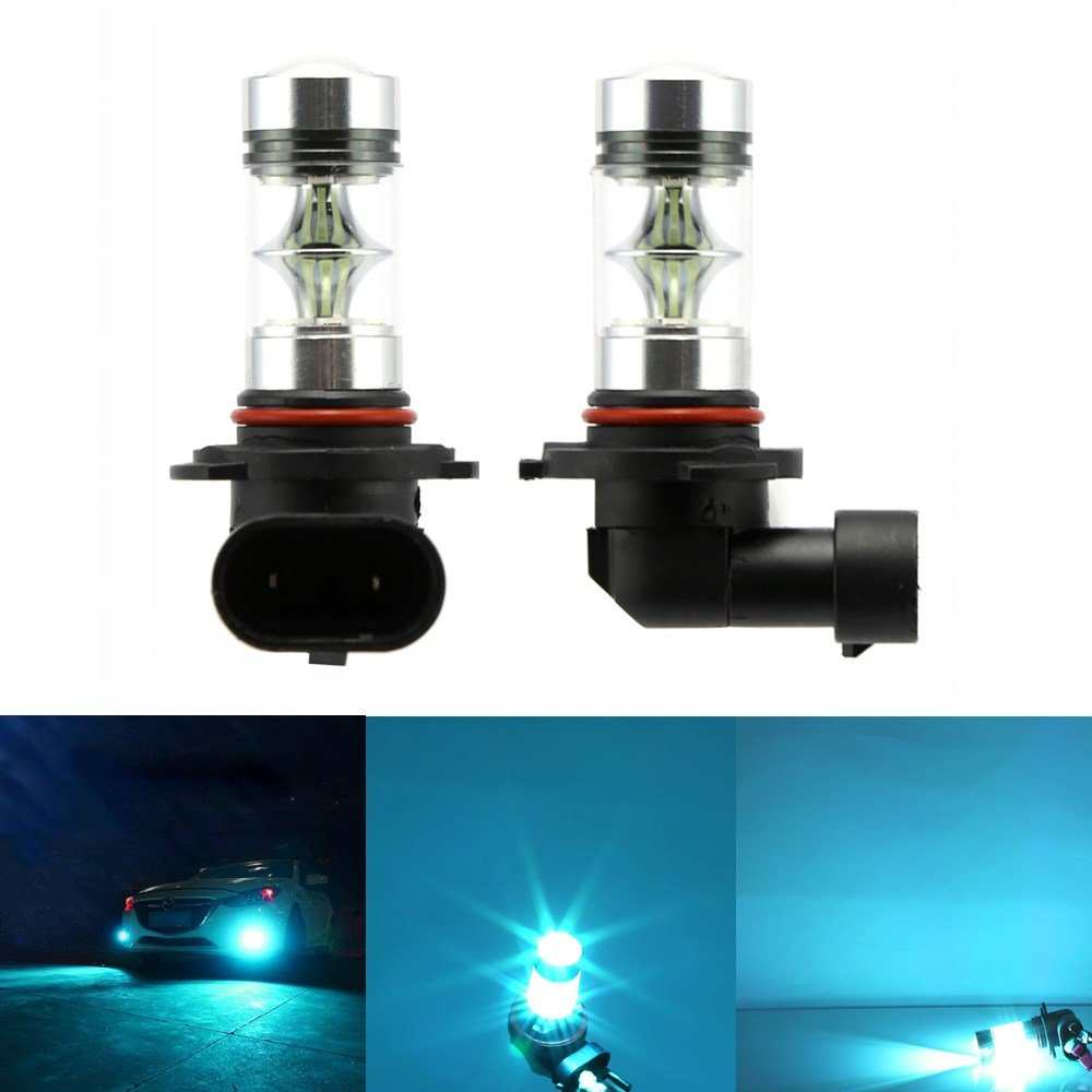 2 x H10 12V Car LED Fog Light Bulb 100W ICE BLUE 8000K SMD 2323 LED Bulbs Projector Fog Driving DRL Light Daytime Running Lamps