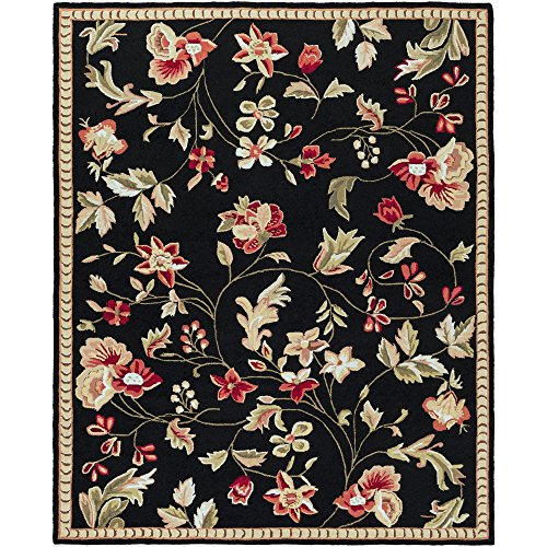 Surya Flor FLO-8907 Transitional Hand Hooked 100% Wool Caviar 8' x 10' Floral Area Rug