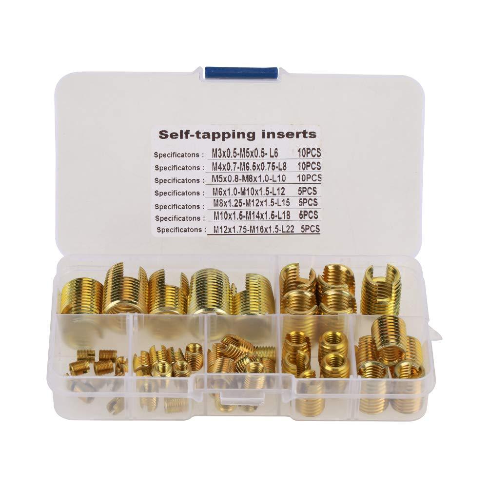 insertos roscados autorroscantes Conjunto de combinacion insertos de roscado para la industria de procesamiento de plastico de metal 50 piezas insertos autorroscantes