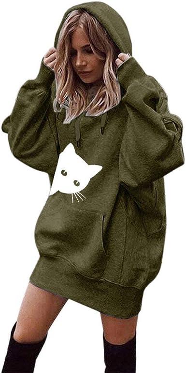 Fashion Femmes Robe Décontractée à Manches Longues à Capuche à Capuche Pull Poches Sweater Tops