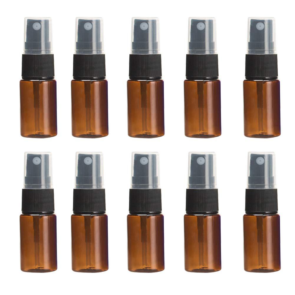 MoGist Pack of 10 Brown Bottle Spray Bottle Portable Fragrance Atomizer Sample Bottle Refillable 10ml Travel Bottle Set