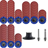 """NYXCL 75Pcs 2 inch A/O Roloc Quick Change Sanding Discs Set, 2PSC 1/4"""" Holders, Die Grinder Surface Conditioning Burr Rust Paint Removal"""