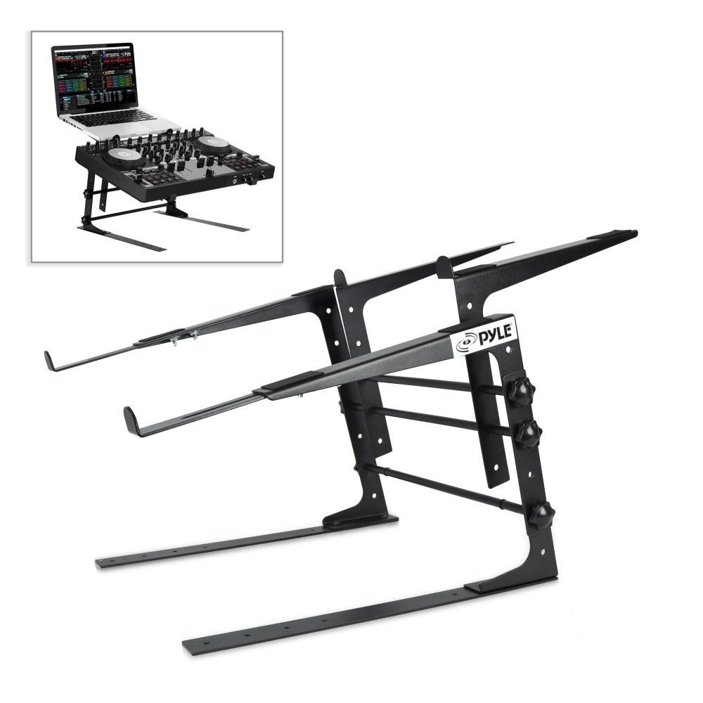 Pyle Portable Dual Laptop Stand - Universal Standing Table with Adjustable Height, Ergonomic Design & Anti-Slip Prongs for DJ Mixer, Sound Equipment, Workstation, Gaming & Home Use - PLPTS38 by Pyle