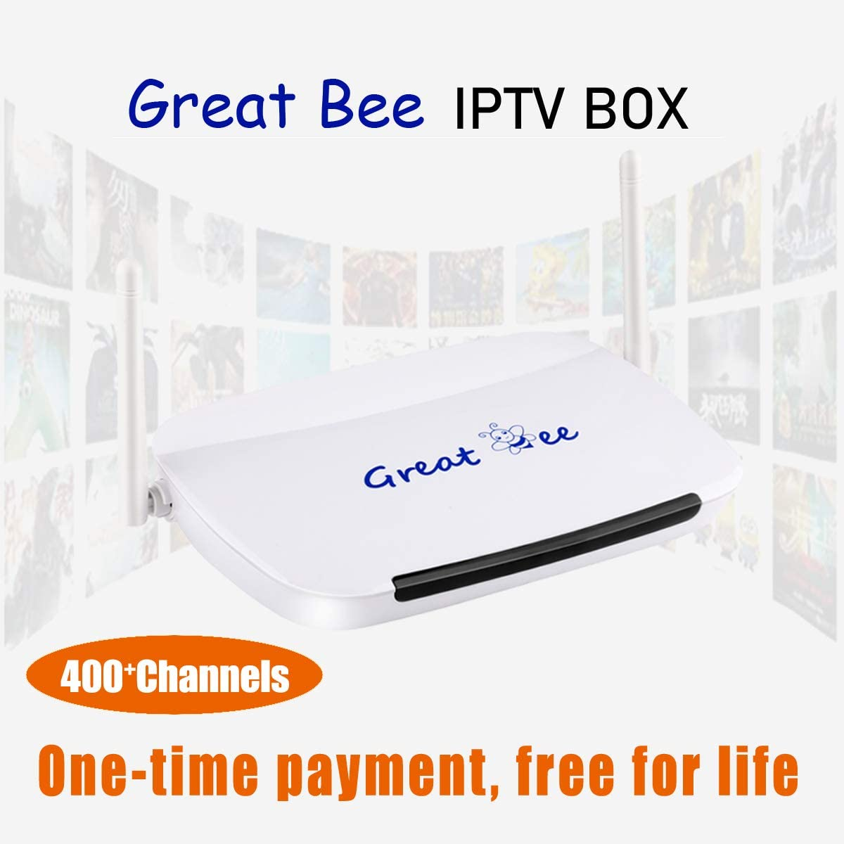 Arabic//Africa//English//French Hot Channels No Monthly and Yearly Fee Free Forever FULL HD 1080P FREEVIEW HD Set Top Box Digital TV Receiver/—2020 Great bee Arabic IPTV Box