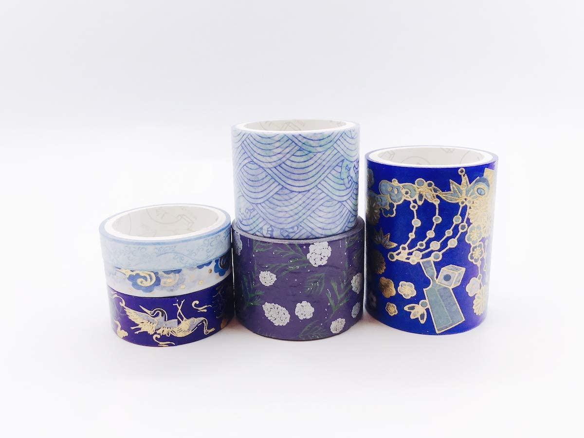 Gift Wrapping Japanese Gold//Silver foil Print washi Tape Set of 6 Rolls.for scrapbooks Crafts and Decorating