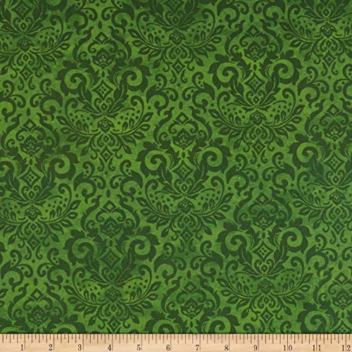 Northcott Deck The Halls Damask Green Fabric by The - Cotton Fabric Damask