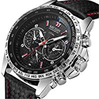 MEGIR Fashion Design Mens Watch with 3eye Decoration Dials and Nail Scale Quartz (Black)