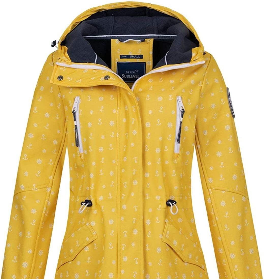 Sublevel Damen Softshell-Jacke Kurzmantel LSL-367 Anker-Alloverprint Middle Yellow