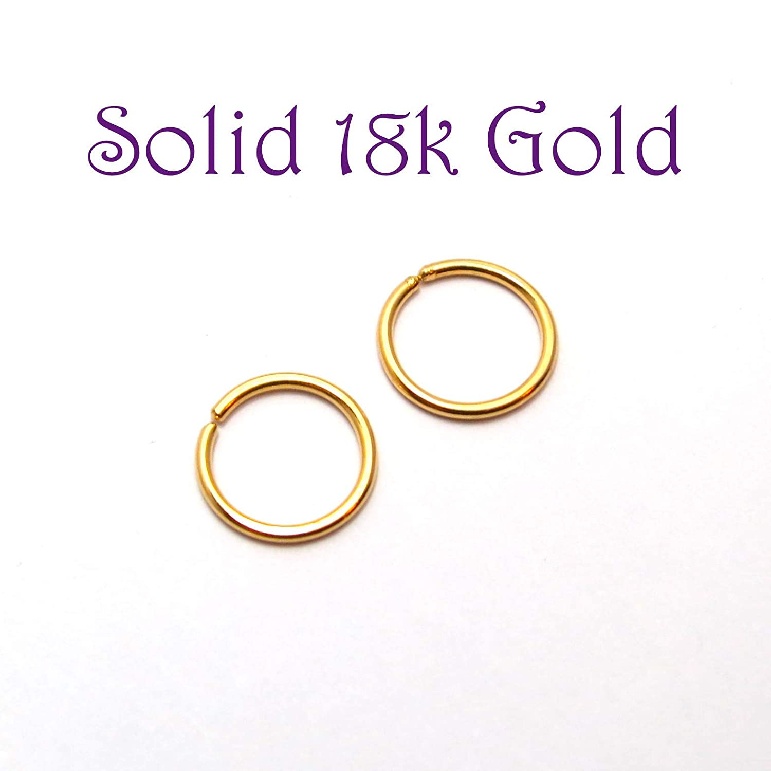 18ct Solid Gold Continuous Endless Hoops Hypoallergenic 18k Gold Hoop Earrings PAIR Small 10mm Sleepers