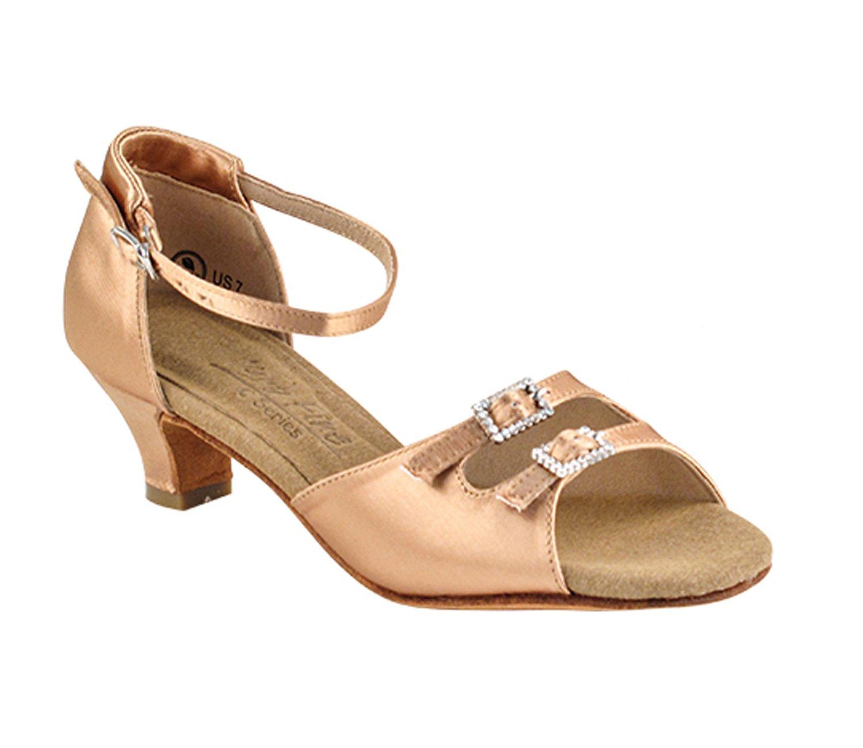 Ladies Women Ballroom Dance Shoes from Very Fine C1620 Series 1.2'' Cuban Heel (8, Tan Satin)