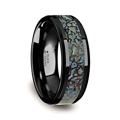 permian polished flat style black ceramic wedding ring with blue dinosaur bone inlay and polished beveled - Ceramic Wedding Rings