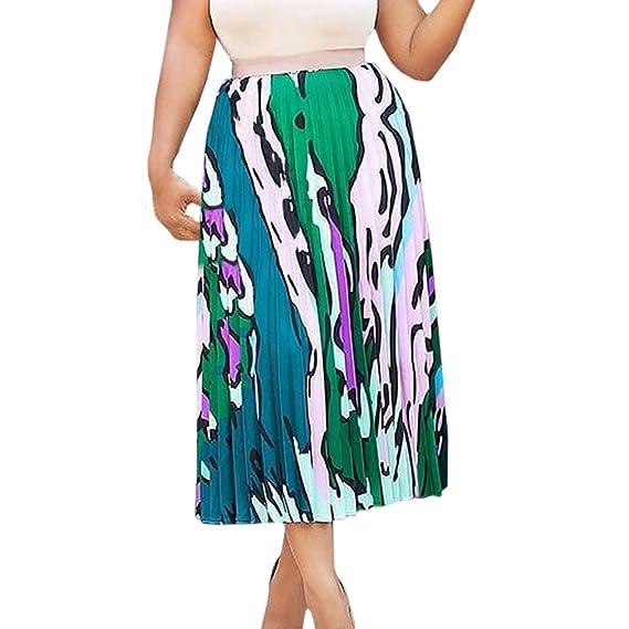 Mujer Elegante Faldas Largas Cintura Alta Elástica Falda Plisada ...