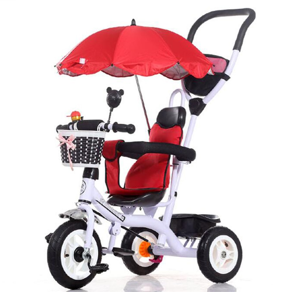 XQ 子供用三輪車高弾性耐衝撃ホイール1-3-5歳のベビートロリー 子ども用自転車 ( 色 : 赤 ) B07C6W2GP2 赤 赤