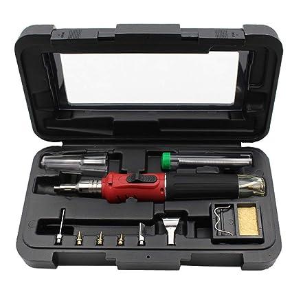FUN LIFE Soldador de butano red - 10 en 1 Kit de soldador a gas Autoinflamable