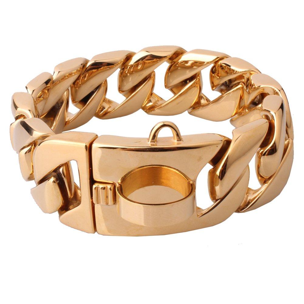 W&W Lifetime Stainless Steel Training Chain Pitbull Pet Dog Choke Collar, 30mm Wide, 680 lbs, Gold