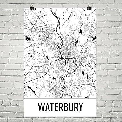 Amazon.com: Waterbury Map, Waterbury Art, Waterbury Print, Waterbury ...