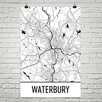 Amazoncom Waterbury Map Waterbury Art Waterbury Print Waterbury