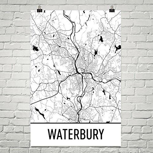 Amazon.com: Waterbury Map, Waterbury Art, Waterbury Print, Waterbury ...