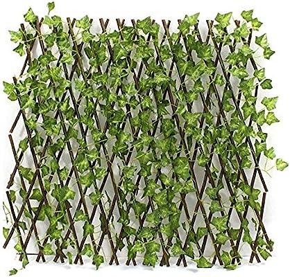 Bluebd Valla Extensible, seto, bambú con Hojas, Rejilla, protección Visual, jardín, Hiedra Artificial, Hojas, decoración, Fondo, 130 cm, expansión Ajustable: Amazon.es: Jardín