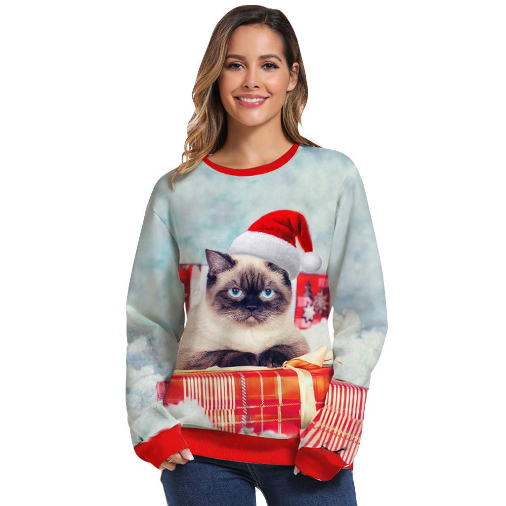 ZOMUSAR Women's Christmas 3D Digital Printing Round Neck Long Sleeve Loose Sweater Pullover Sweatshirt Blouse Tops Blue by ZOMUSAR
