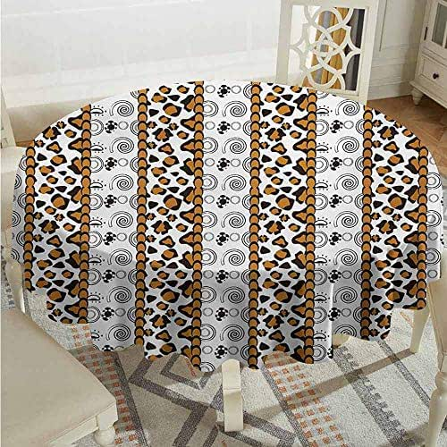XXANS Washable Round Tablecloth,Zambia,Cheetah Leopard Skin Pattern with Wildlife Featured Spirals Illustration,High-end Durable Creative Home,55 INCH,Amber Brown White