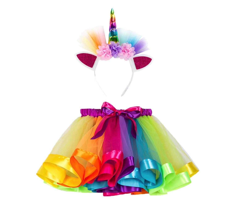 Skirt+Headwear WSLCN Girls Rainbow Tutu Skirt Kids Ruffle Tiered Princess Dance Performance Skirt for 2-11 Years Old