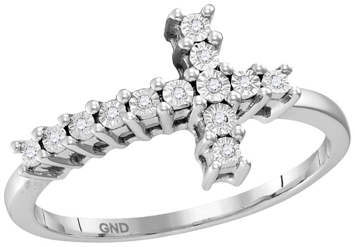 Size 5 - 925 Sterling Silver Round Diamond Christian Cross Cluster Ring 1/20 Cttw