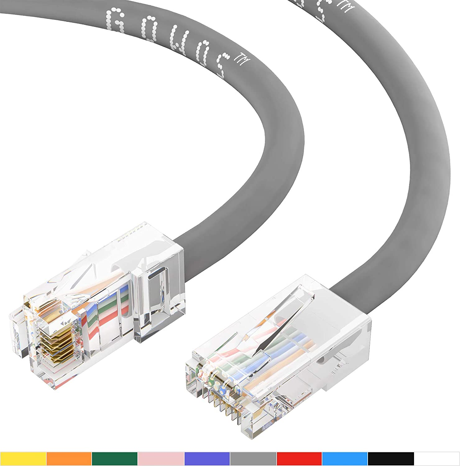 RJ45 10Gbps High Speed LAN Internet Patch Cord Available in 28 Lengths and 10 Colors UTP 14 Feet - Gray Cat5e Ethernet Cable GOWOS 10-Pack Computer Network Cable with Bootless Connector