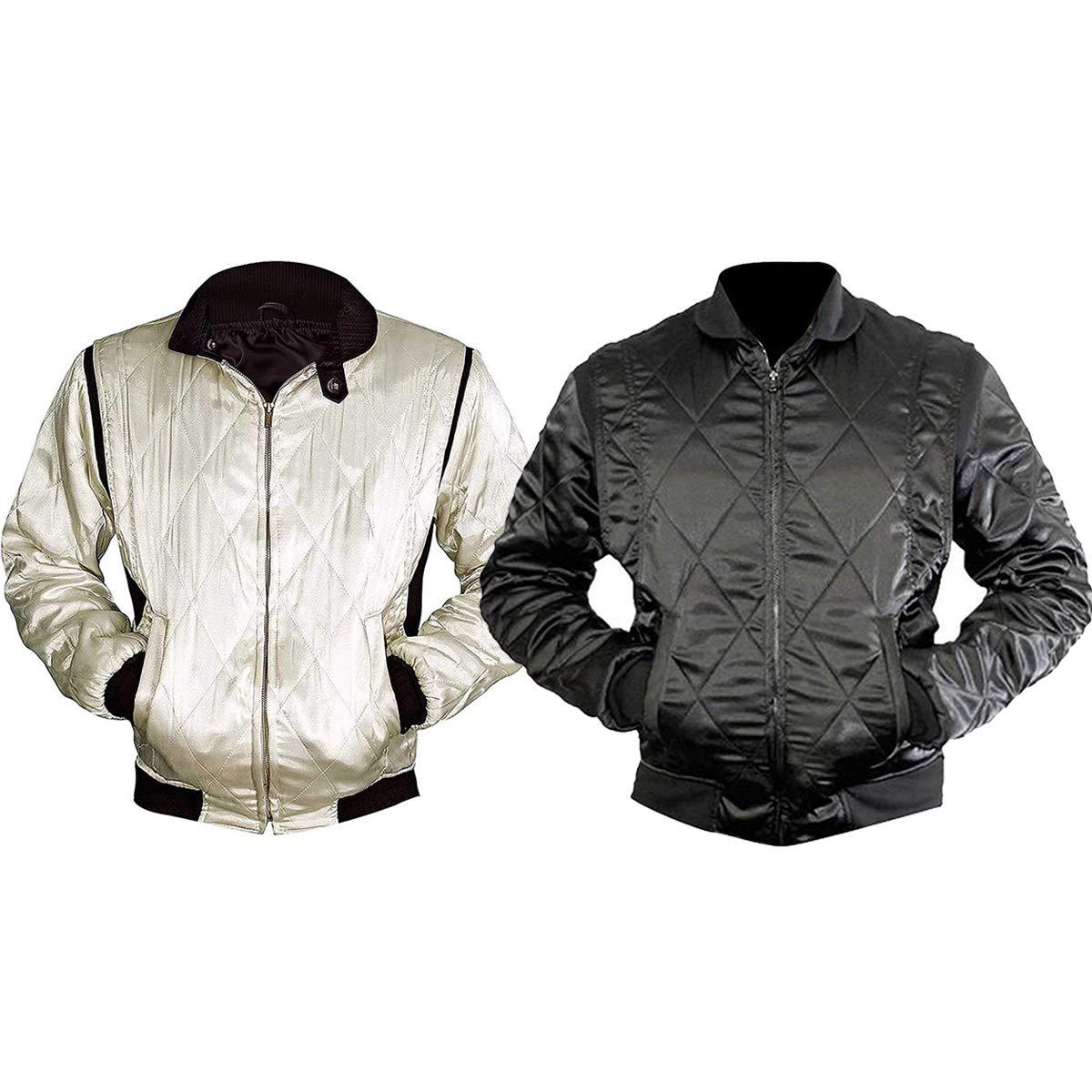 CHICAGO-FASHIONS Mens Motorcycle Ryan Driver Gosling Scorpio Logo Ivory White Bomber Satin Jacket by CHICAGO-FASHIONS