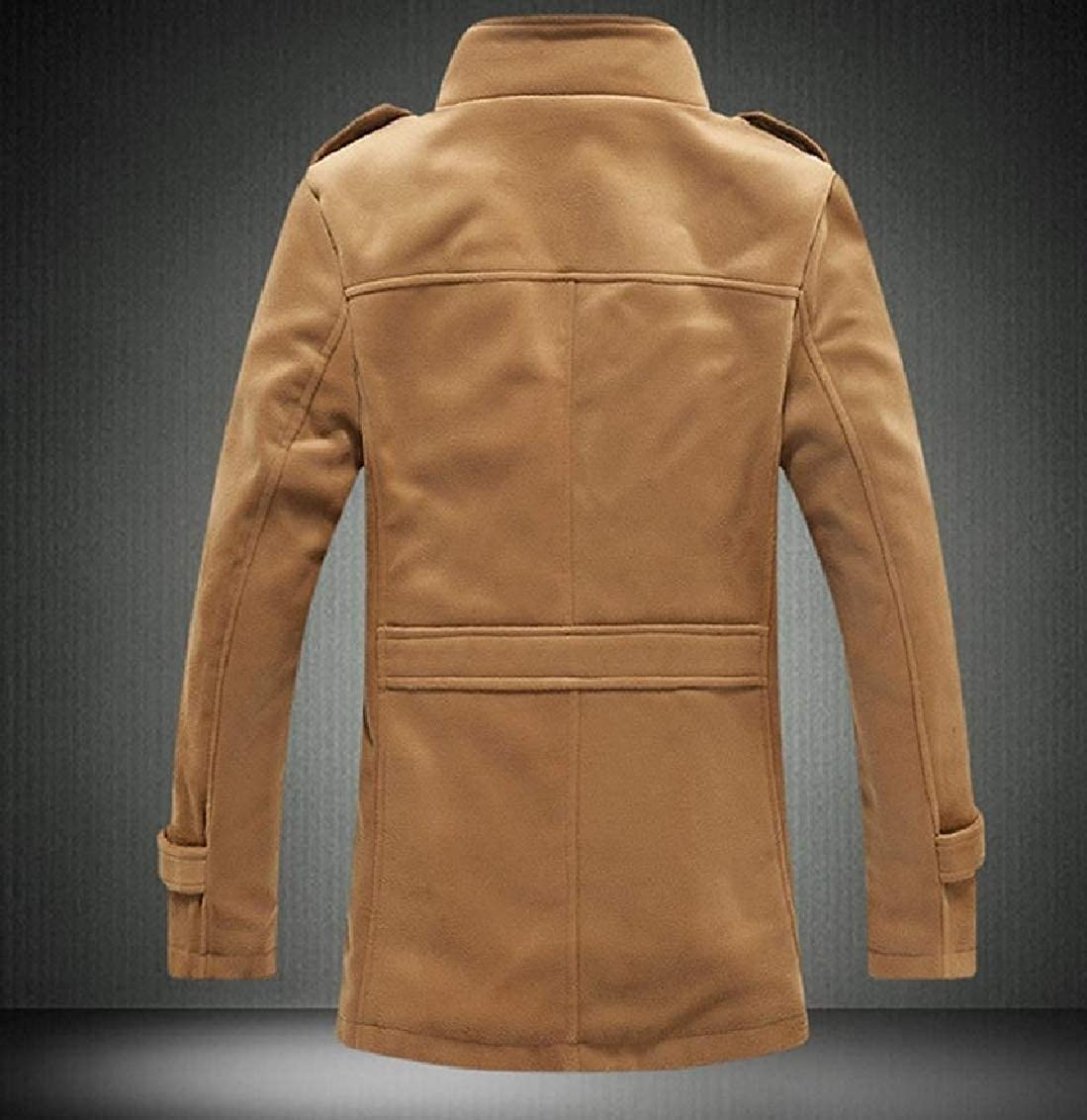 FreelyMen Solid-Colored Plus Velvet Pocket Button Up Thickening Coat Jacket