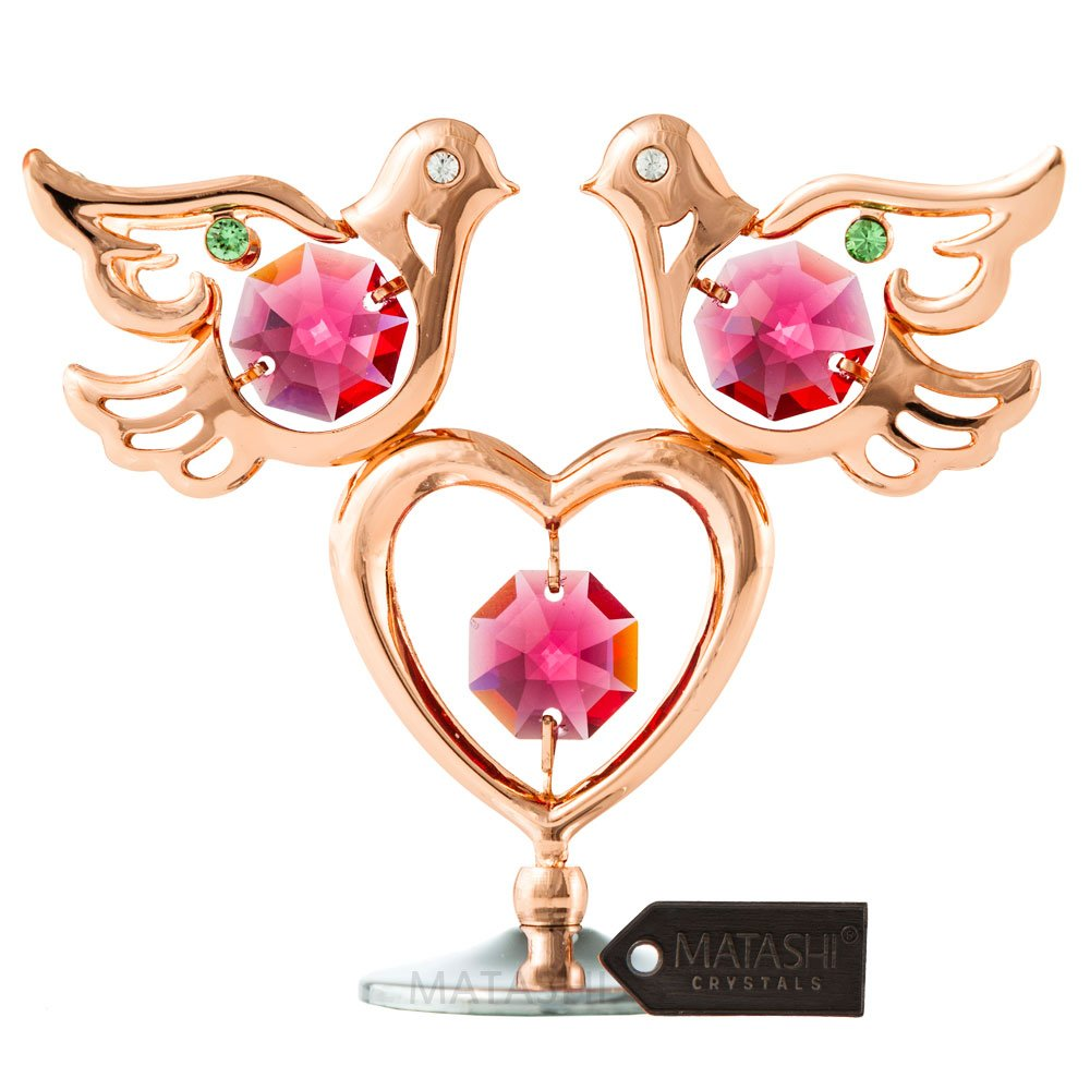 Matashi Rose Gold Plated Love Doves and Heart Table Top Ornament w Crystals Miniature Home Décor and Memory Keepsake Gift for Mom