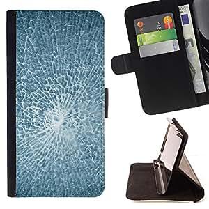 BullDog Case - FOR/Samsung Galaxy S3 III I9300 / - / Smashed Broken Glass /- Monedero de cuero de la PU Llevar cubierta de la caja con el ID Credit Card Slots Flip funda de cuer