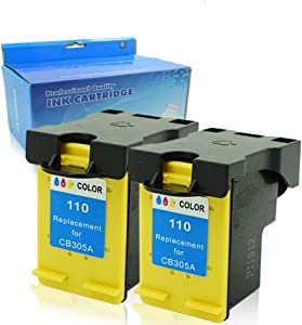 OGOUGUAN Remanufactured Ink Cartridges Replacement for HP 110 CB304AN High Yiled for HP Photosmart A310 A311 A314 A316 A320 A430 A432 A433 A434 A436 A440 Printer (Tri-Color, 2 Pack)